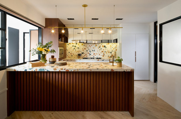 Midcentury Kitchen by Design Point Interiors Pte Ltd