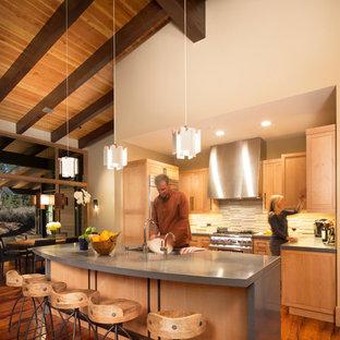 Ejemplo de cocina en U, contemporánea, de tamaño medio, con armarios estilo shaker, puertas de armario de madera clara, salpicadero multicolor, electrodomésticos de acero inoxidable, suelo de madera en tonos medios, una isla y salpicadero de piedra caliza