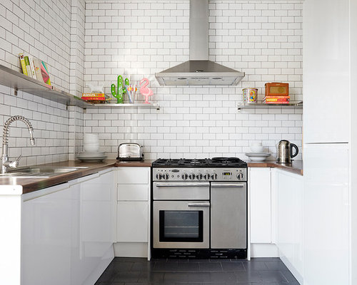 Inspiration For A Scandi U Shaped Kitchen In London With A Built In Sink