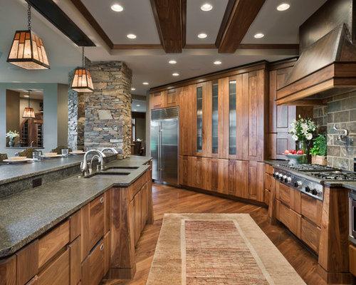 Rustic Walnut Cabinets Home Design, Photos & Decor Ideas