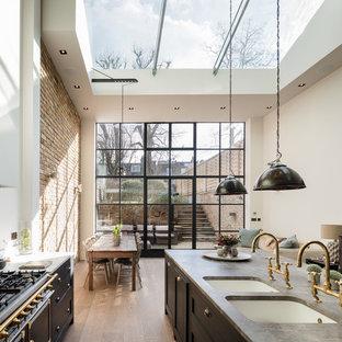 ロンドンの大きいインダストリアルスタイルのおしゃれなキッチン (ダブルシンク、シェーカースタイル扉のキャビネット、グレーのキャビネット、大理石カウンター、黒い調理設備、無垢フローリング) の写真