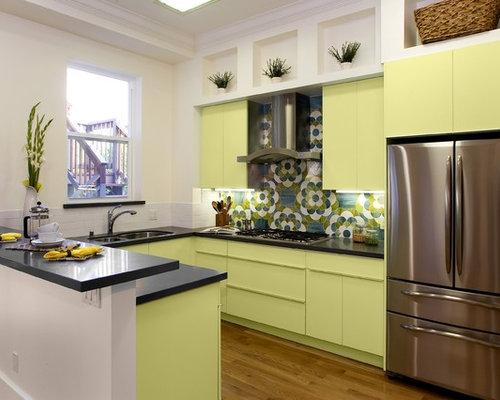 Multi colored barrel tile roof design ideas remodel for Multi color kitchen ideas