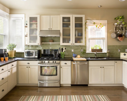 Avocado green houzz for Avocado kitchen cabinets
