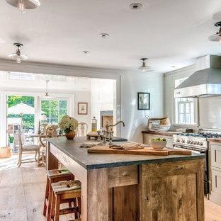 ニューヨークの中くらいの北欧スタイルのおしゃれなキッチン (エプロンフロントシンク、シェーカースタイル扉のキャビネット、グレーのキャビネット、ソープストーンカウンター、白いキッチンパネル、木材のキッチンパネル、シルバーの調理設備、淡色無垢フローリング、茶色い床) の写真