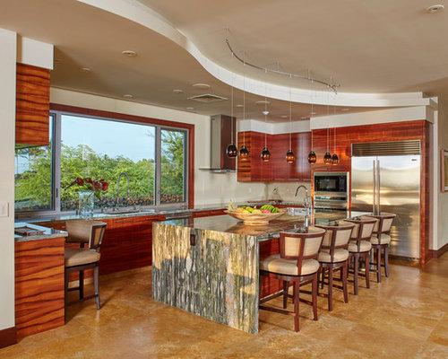 tropical kitchen design ideas renovations photos with travertine floors