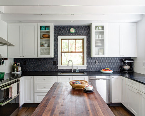 Transitional U Shaped Kitchen Idea In Phoenix With An Undermount Sink Shaker Cabinets
