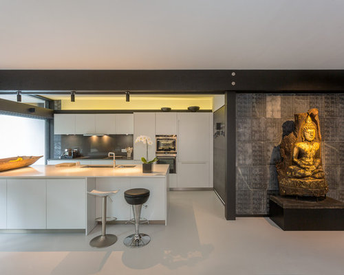 Asian Kitchen Inspiration   Kitchen   Gray Floor Kitchen Idea In London  With A Double