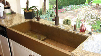 Huge copper sink and a kitchen with a view, featuring a copper sinks by Rachiele