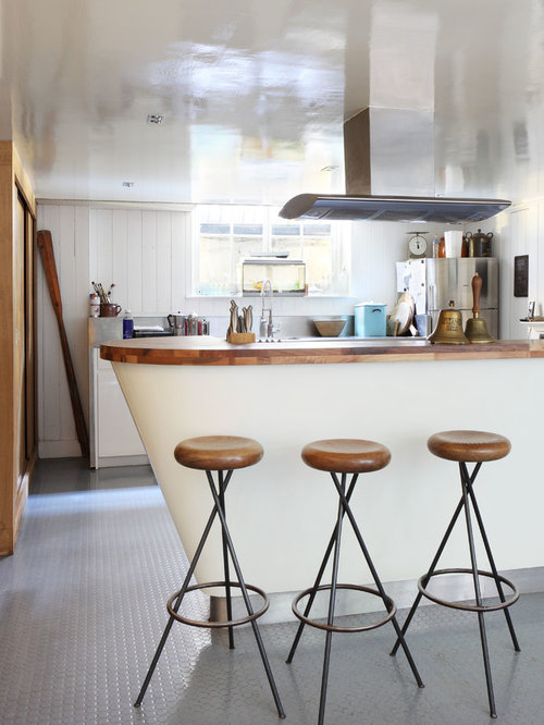 Inspiration For An Eclectic Galley Kitchen Remodel In London With Wood  Countertops And Stainless Steel Appliances