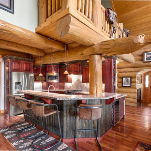 Large Rustic Kitchen Remodeling   Example Of A Large Mountain Style  U Shaped Medium Tone