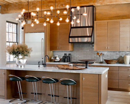 popular lighting fixtures. example of a trendy galley light wood floor kitchen design in new york with flat popular lighting fixtures e