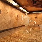 Travertine Tile Backsplash Amp Black Pearl Granite