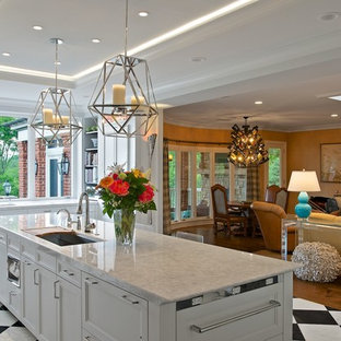 Transitional kitchen designs - Kitchen - transitional kitchen idea in Cincinnati with recessed-panel cabinets and white cabinets