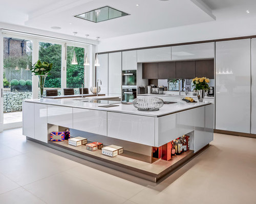 High gloss kitchen cabinet houzz for Kitchen ideas high gloss