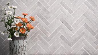 Ice Grey Marble Herringbone Tiles