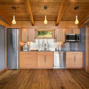シアトルの中くらいのラスティックスタイルのおしゃれなI型キッチン (フラットパネル扉のキャビネット、メタルタイルのキッチンパネル、シルバーの調理設備、アンダーカウンターシンク、淡色木目調キャビネット、クオーツストーンカウンター、メタリックのキッチンパネル、無垢フローリング、アイランドなし、茶色い床) の写真