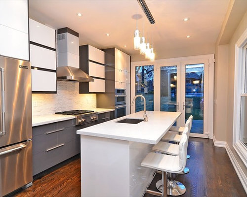 . Ikea handleless Abstrakt grey and white kitchen