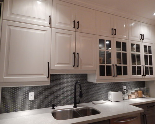 Galley Kitchen - IKEA Bodbyn Gray and White with Stacked Wall Cabinets