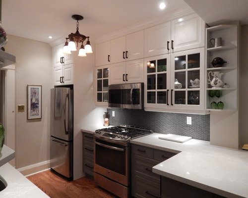 Galley Kitchen - IKEA Bodbyn Gray and White with Stacked ...