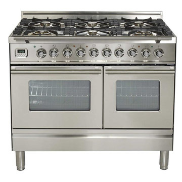 "Ilve Pro Series 40"" Dual Fuel Gas Range 6 Burners Double Oven Stainless Steel"