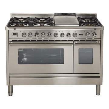 """Ilve  Pro Series 48"""" Dual Fuel Gas Range Double Oven Stainless Steel"""