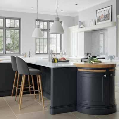 Inspiration for a large transitional l-shaped ceramic tile and beige floor open concept kitchen remodel in Other with a farmhouse sink, beaded inset cabinets, blue cabinets, quartzite countertops, white backsplash, colored appliances, two islands and white countertops