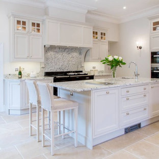 Large classic kitchen/diner in Cornwall with an island.