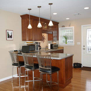 Inspiration for a mid-sized traditional l-shaped eat-in kitchen in Philadelphia with an undermount sink, shaker cabinets, medium wood cabinets, recycled glass benchtops, stainless steel appliances, light hardwood floors and a peninsula.