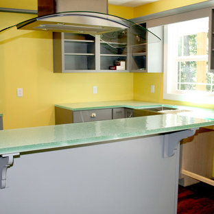Indiana New Construction Kitchen Blue Green Glass Countertop