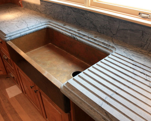 Country Kitchen W Cement Blue Countertop