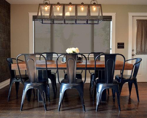 Industrial L Shaped Medium Tone Wood Floor And Brown Floor Eat In Kitchen  Idea