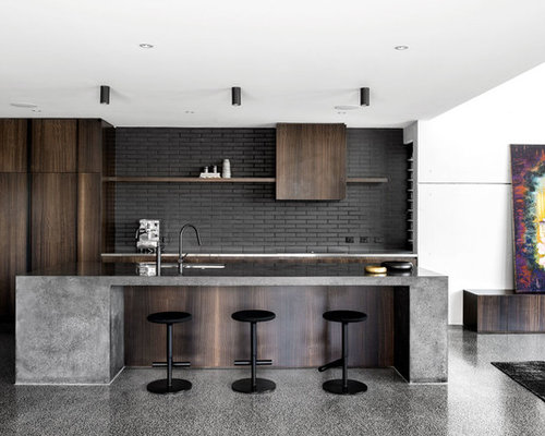 Most Popular Industrial Kitchen With Black Splashback