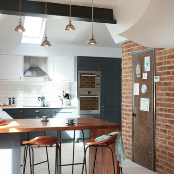 Industrial kitchen with bespoke painted furniture