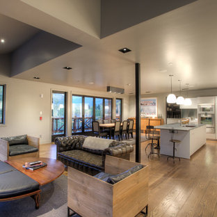 Open concept kitchen - industrial l-shaped open concept kitchen idea in Denver with flat-panel cabinets and white cabinets