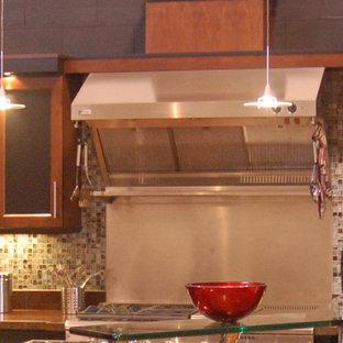 サンルイスオビスポの大きいインダストリアルスタイルのおしゃれなキッチン (シェーカースタイル扉のキャビネット、赤いキャビネット、クオーツストーンカウンター、緑のキッチンパネル、ガラスタイルのキッチンパネル、シルバーの調理設備の、無垢フローリング) の写真