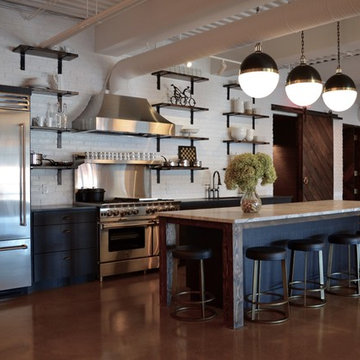 Industrial Modern Kitchen with Blue Cabinets