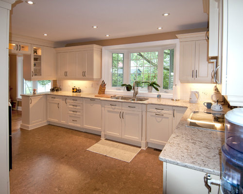 Kitchen Design Ideas Renovations Photos With Beige Cabinets And Cork Flooring