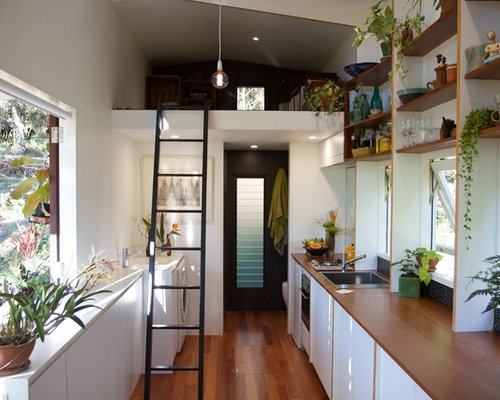 Inspiration For A Small Contemporary Single Wall Eat In Kitchen In Brisbane  With A