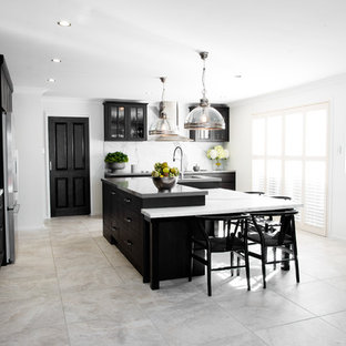 Small Modern Open Concept Kitchen Remodeling Minimalist L Shaped Ceramic Floor And Gray