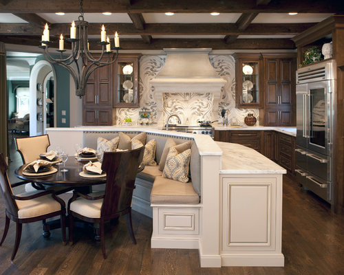 inspiration for a large timeless lshaped dark wood floor eatin kitchen remodel