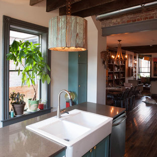 Inspiration for an eclectic kitchen in Philadelphia with a drop-in sink, recessed-panel cabinets, turquoise cabinets and stainless steel appliances.