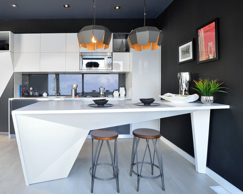 Inspiration For An Eclectic Kitchen Remodel In Toronto With Flat Panel  Cabinets, White Cabinets