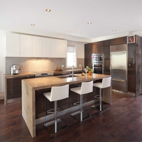 Modern l-shaped kitchen idea in Toronto with flat-panel cabinets dark wood & Kitchen Recessed Lighting | Houzz azcodes.com