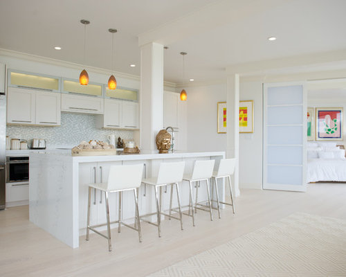 Large Contemporary Open Concept Kitchen Remodeling   Example Of A Large  Trendy Single Wall Light