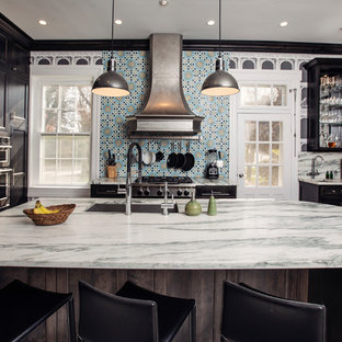 Design ideas for a mid-sized victorian l-shaped eat-in kitchen in Other with with island, an undermount sink, beaded inset cabinets, black cabinets, marble benchtops, porcelain splashback, stainless steel appliances, marble floors, multi-coloured floor, blue splashback and turquoise benchtop.