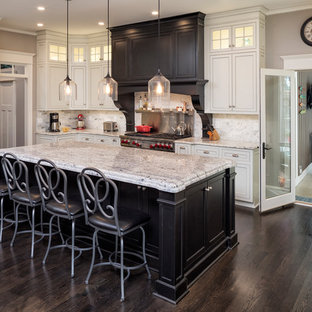 Traditional kitchen inspiration - Elegant u-shaped dark wood floor and brown floor kitchen photo in Chicago with white cabinets, granite countertops, stainless steel appliances, an undermount sink, recessed-panel cabinets, gray backsplash and an island