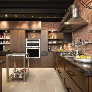 Design ideas for a mid-sized industrial u-shaped separate kitchen in Toronto with a double-bowl sink, flat-panel cabinets, dark wood cabinets, quartzite benchtops, red splashback, brick splashback, stainless steel appliances, dark hardwood floors, with island and brown floor.