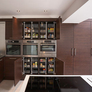 Expansive contemporary kitchen/diner in Other with flat-panel cabinets, dark wood cabinets, stainless steel appliances, a submerged sink, composite countertops, porcelain flooring and an island.