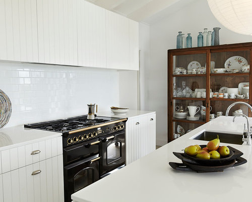 Inspiration for a contemporary galley enclosed kitchen remodel in London with an undermount sink white & Melamine Kitchen Cabinets | Houzz kurilladesign.com