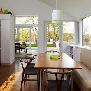 Ejemplo de cocina comedor minimalista, de tamaño medio, con armarios estilo shaker, puertas de armario blancas, electrodomésticos de acero inoxidable, suelo de madera en tonos medios y una isla
